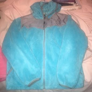Girls cotton candy fuzzy blue north face
